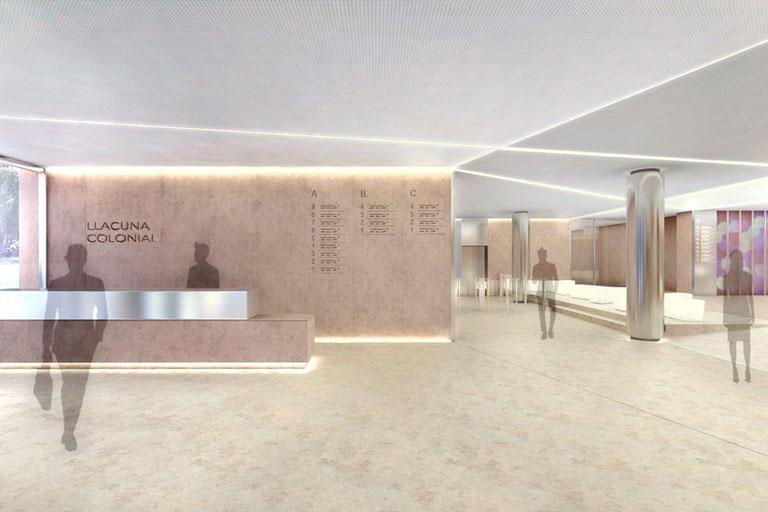 Reforma del vestíbulo edificio Illacuna proyecto realtizar para ingeniería de Barcelona OTP