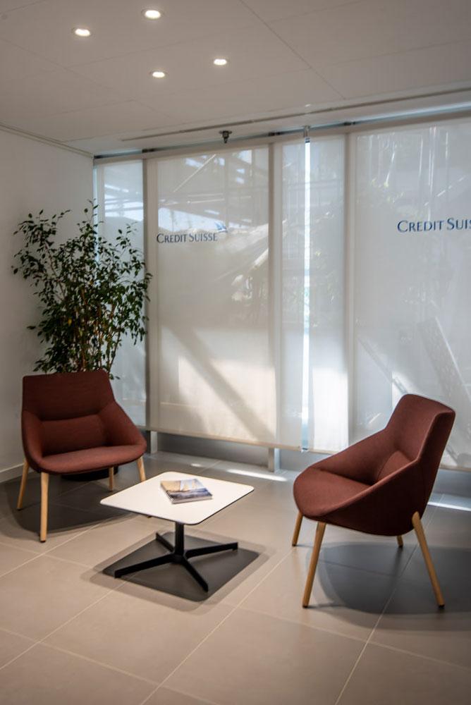 Oficines de Credit Suisse de 530m2 situades a l´edifici de l´avinguda Diagonal 605 de Barcelona.