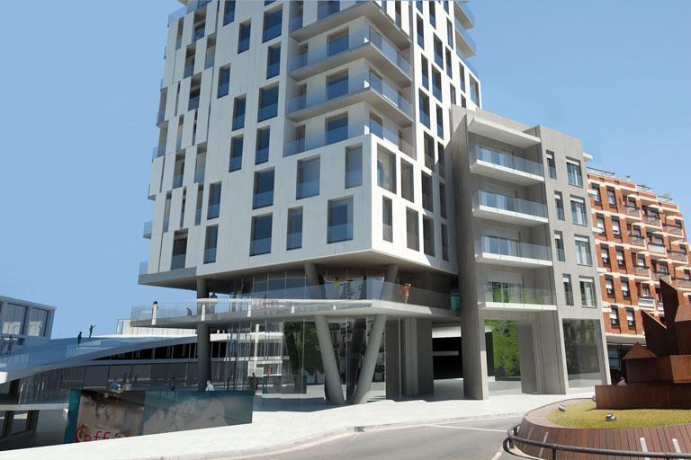 Render per a construcciones ortega, centre comercial i conjunt d'edificis d'habitatges plurifamiliars